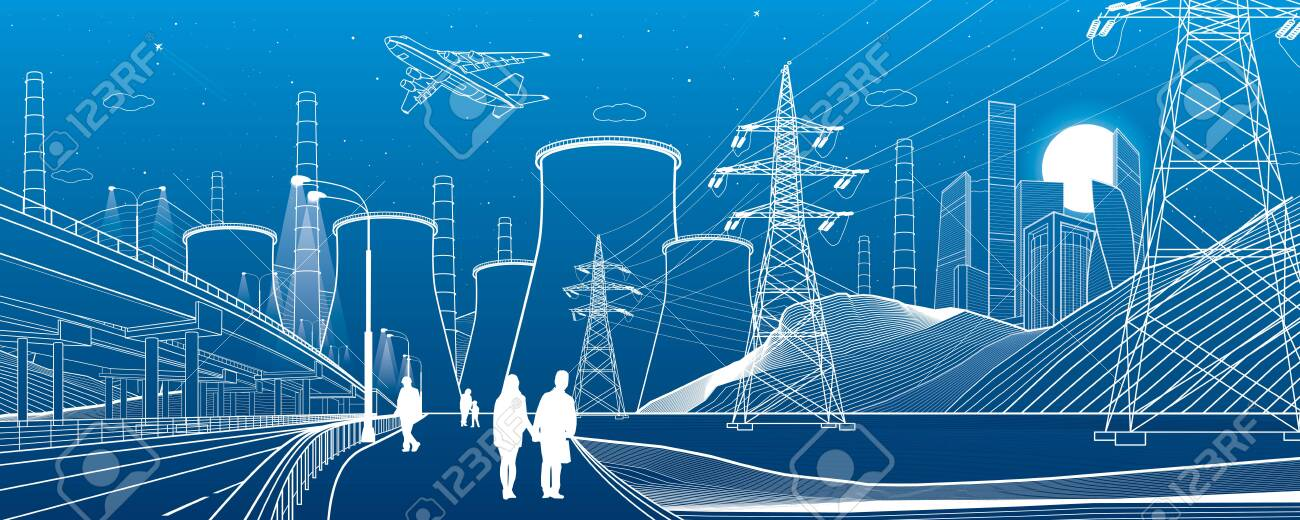 Energy illustration. Thermal power plant. Power line. Illuminated higway. People walking. Car overpass at background. Infrastructure urban scene. Vector design art - 138262147