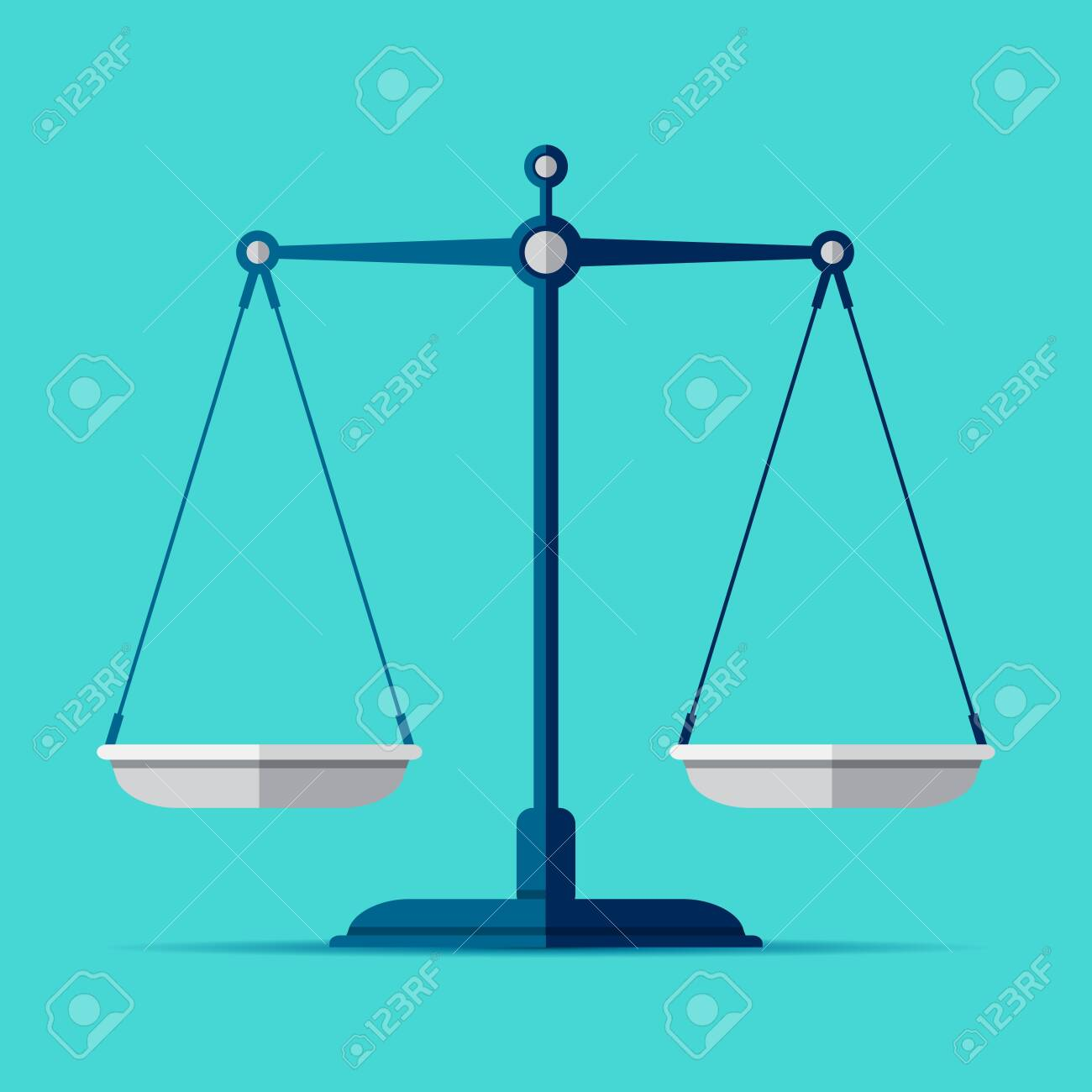 Scales icon in flat style. Libra symbol, balance sign. Vector design element for you project on color background - 143261906