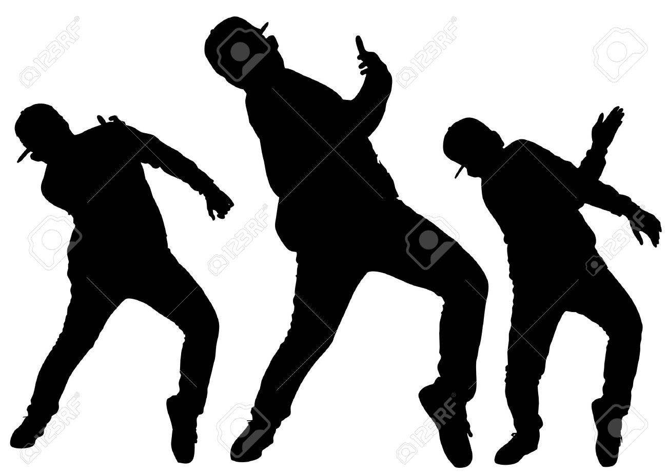 Silhouette Of Hip Hop Dancer Vector Files Stock