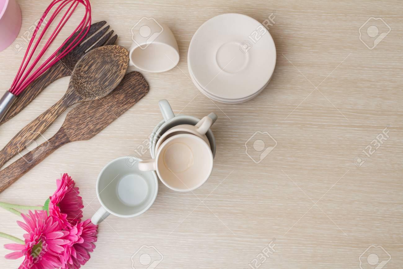 Immagini stock vista dallalto della collezione di tazza di caffè