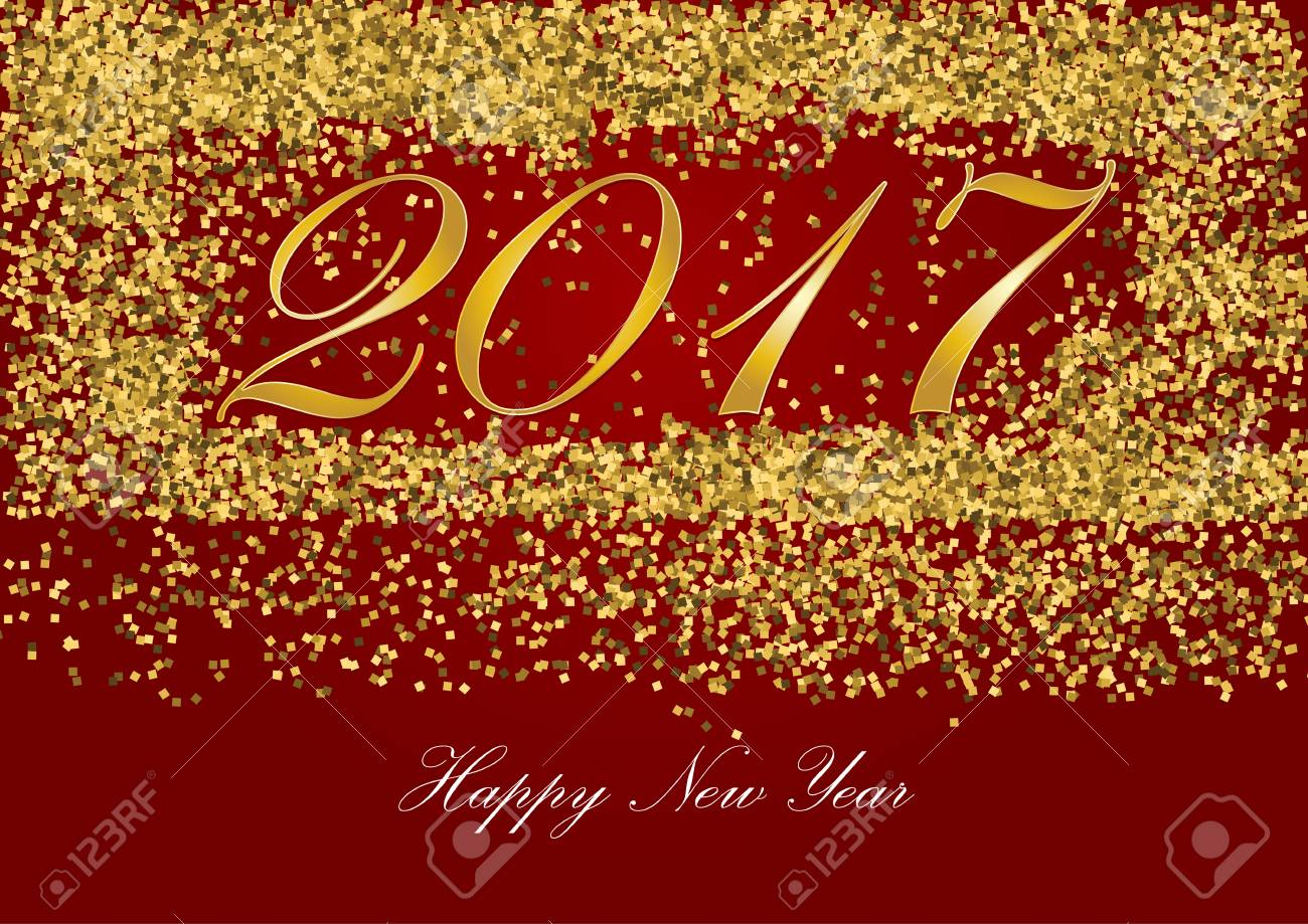 happy new year 2017 golden letter with gold glitter texture border over red background stock photo