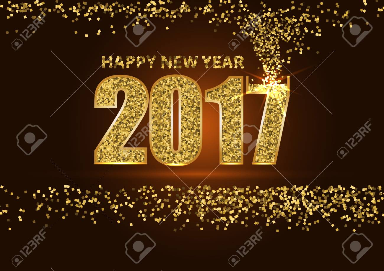 happy new year 2017 golden letter with gold glitter texture border over golden background stock photo