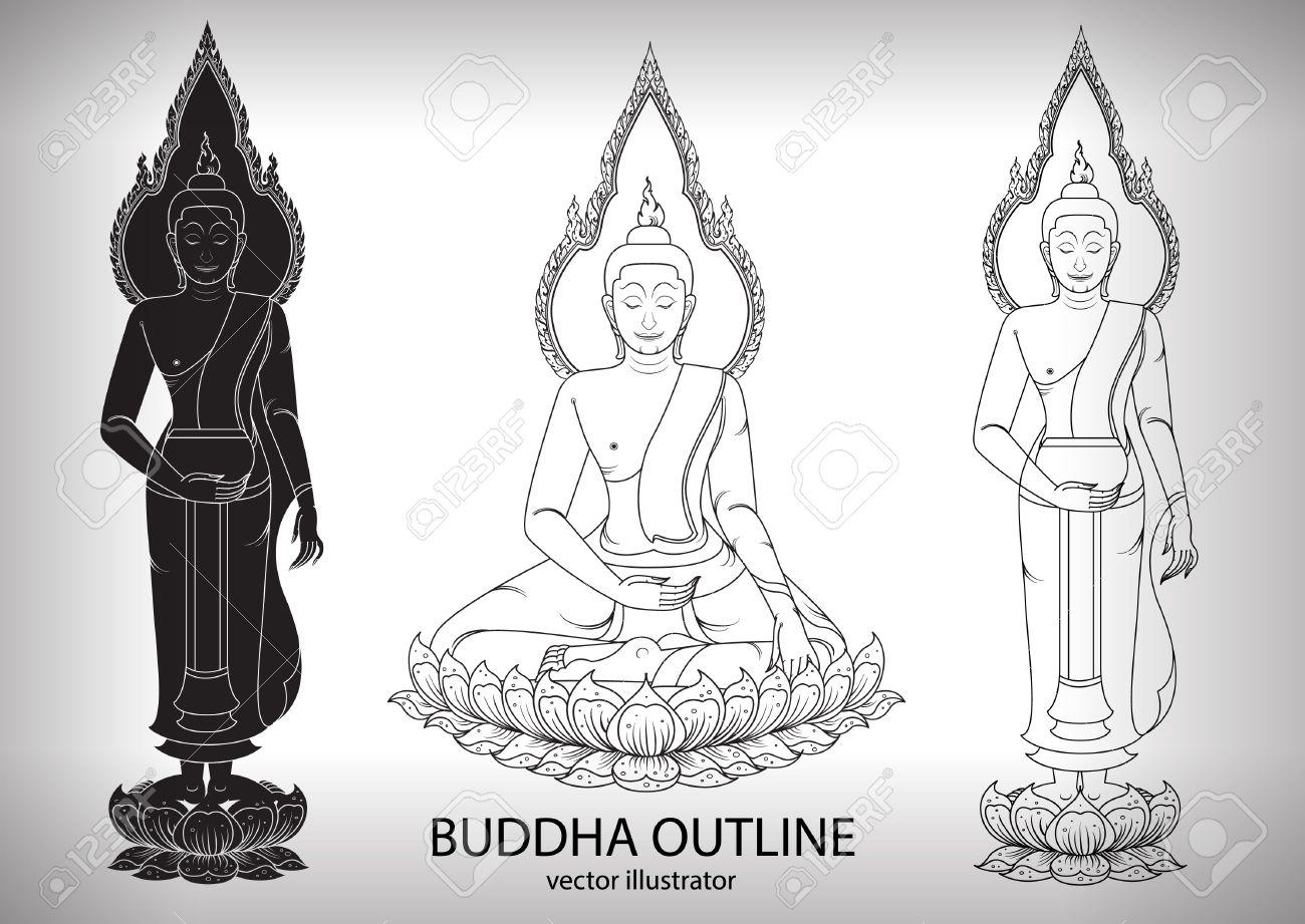 Line Art Vector Illustrator : Buddha silhouette layout vector illustrator royalty free cliparts