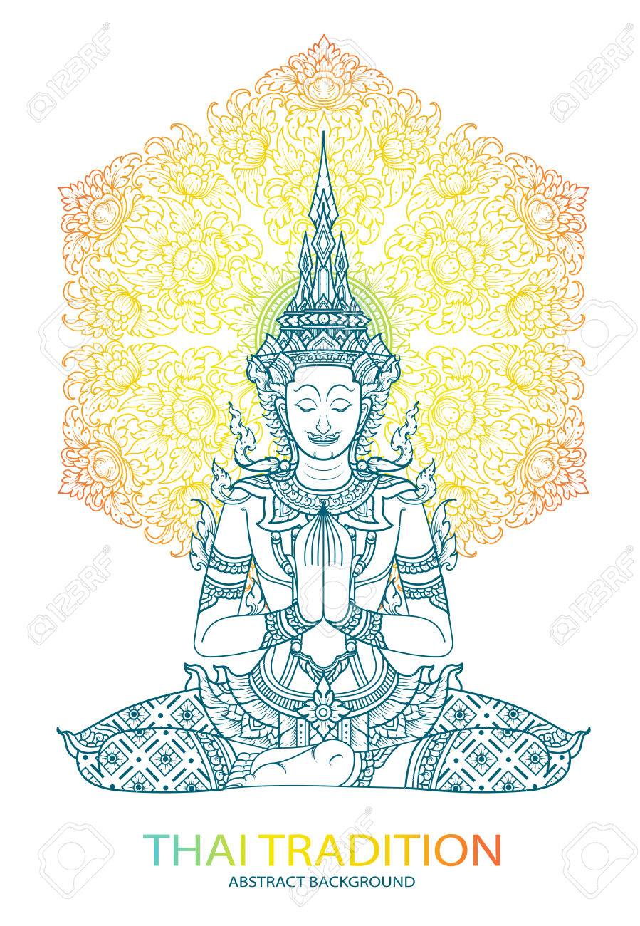 Tradition Thai Buddha Jewelry Set Royalty Free Cliparts Vectors