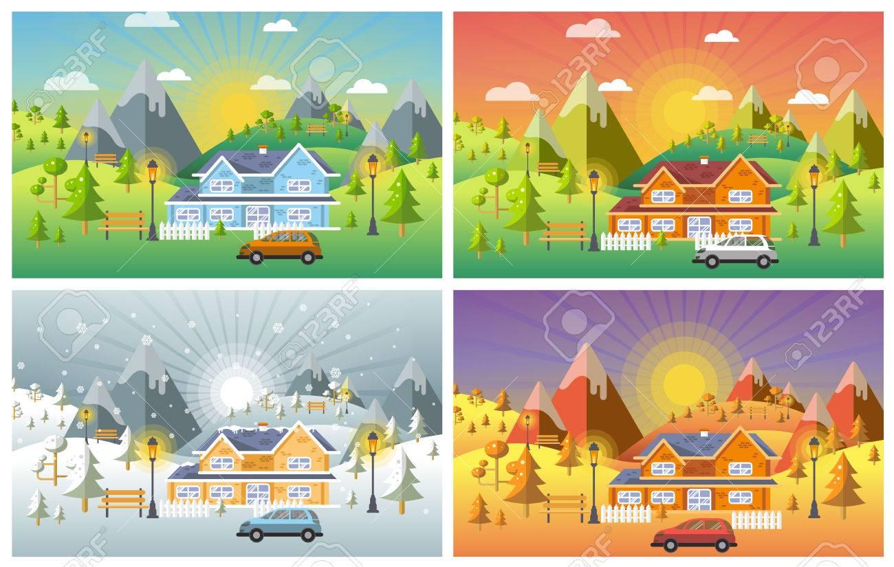 landscape design set with Winter, Spring, Summer, Autumn. houses, 4 seasons - Landscape Design Set With Winter, Spring, Summer, Autumn. Houses