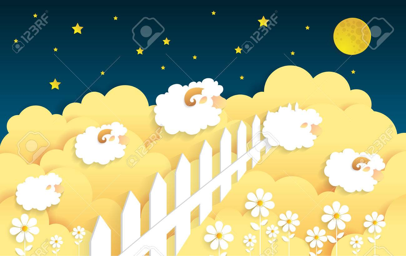 Counting Sheep Cartoon Character Happy Jumping For Sweet Dreamspaper Art Stock