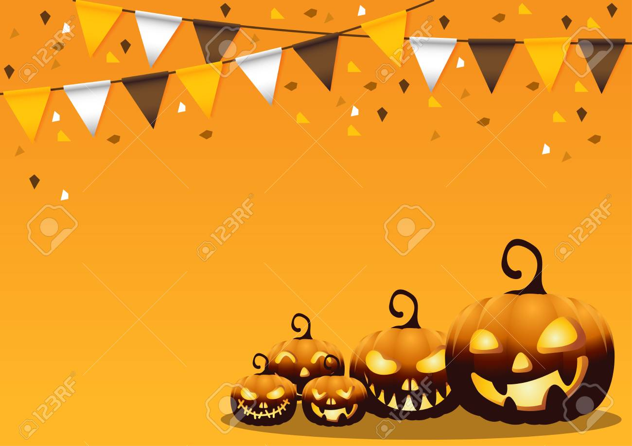 happy halloween on background with flags and pumpkins vector