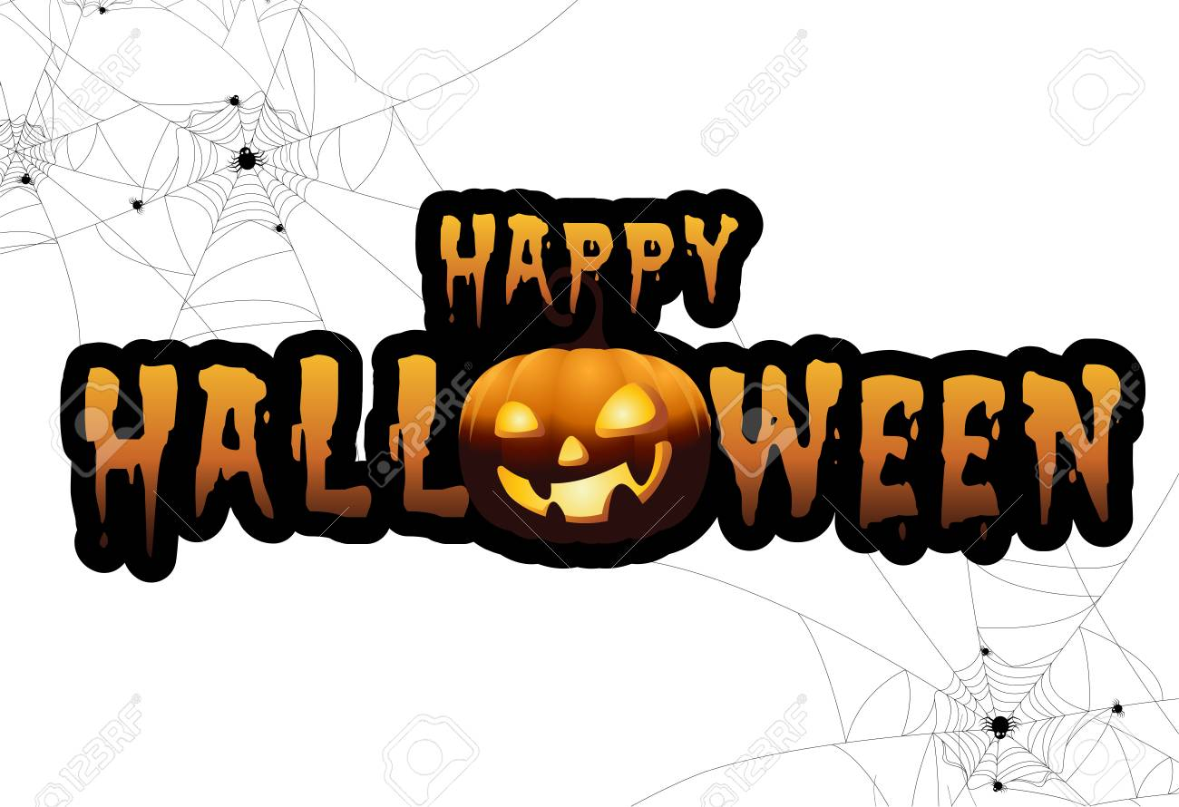 Lovely Full Moon With Pumpkins And Ghost,Sign Party Happy Halloween Night  Background.Vector Illustration