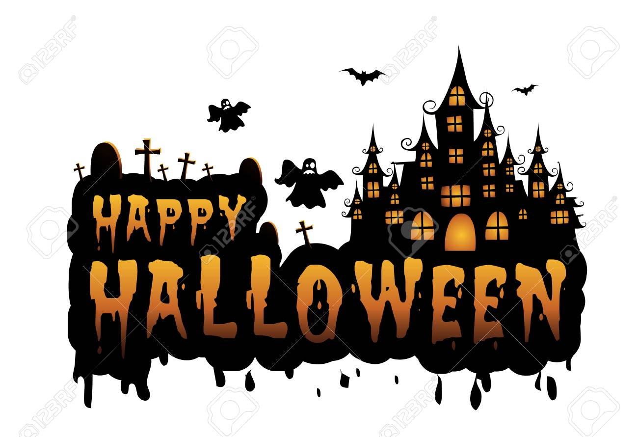 Haunted House And Full Moon With Pumpkins And Ghost,party Happy Halloween  Night Background.