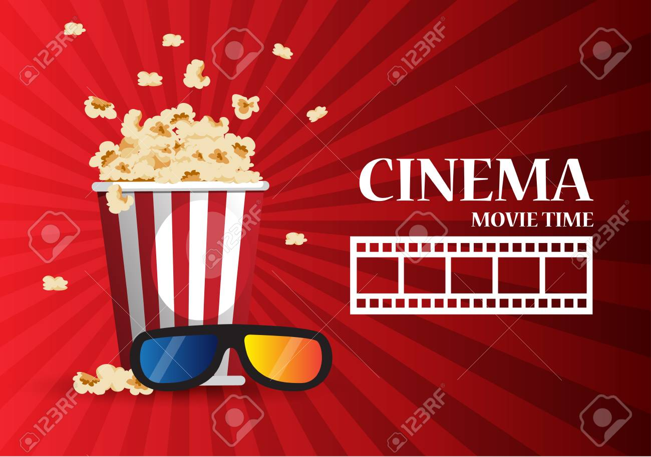 Movie Cinema Poster Design Vector Template Banner For Show With Popcorn Stock