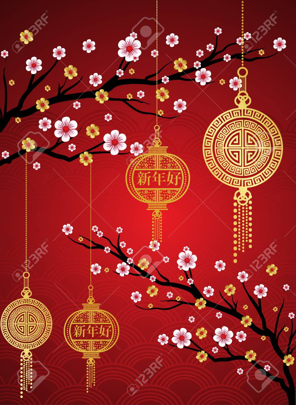 chinese new year background red blooming sakura branches on bright backdropasian lantern lamps