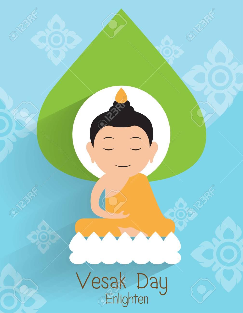 Vesak Day Greeting Card Buddha Enlighten On The Lotus Vector