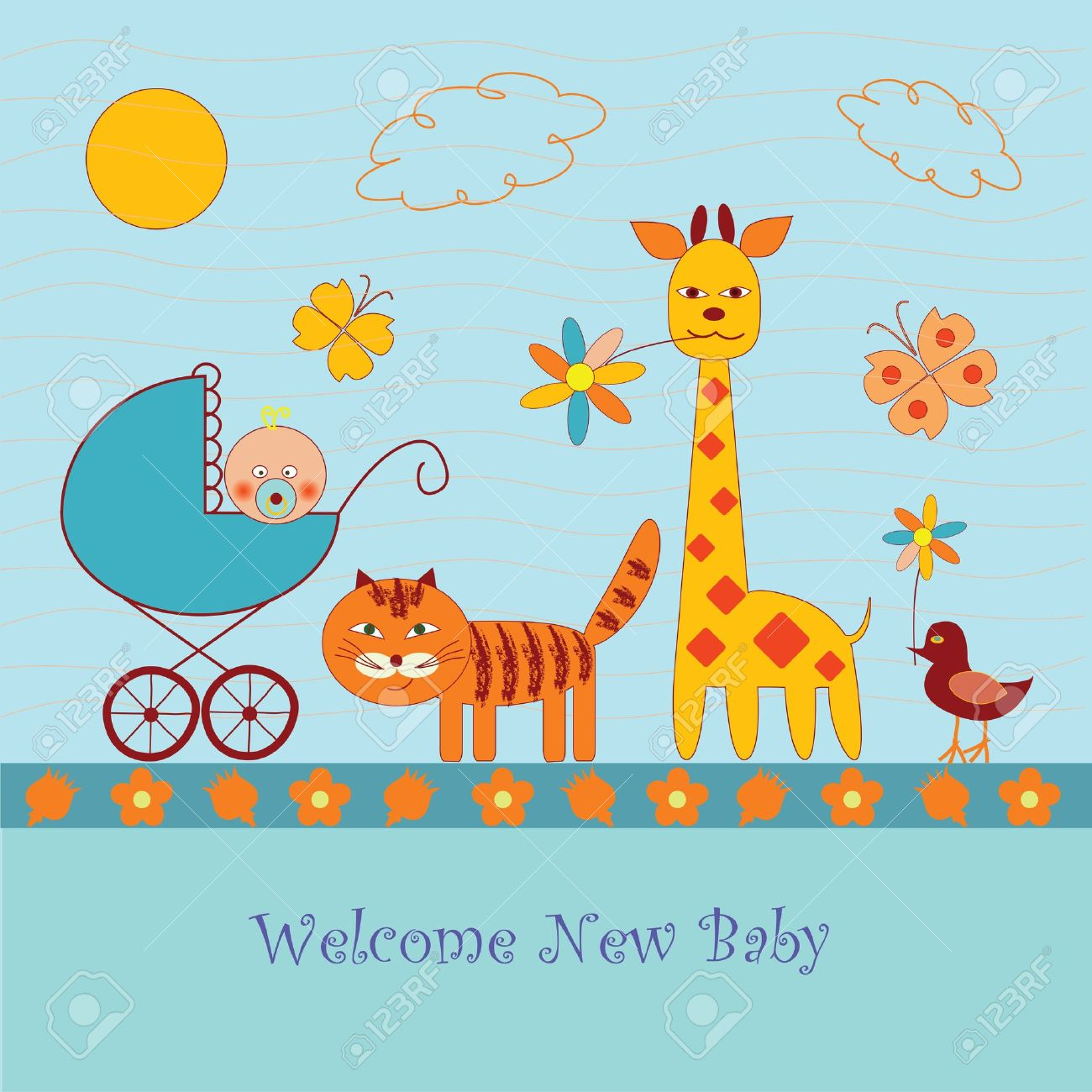 Funny Cartoon Baby Shower Card Royalty Free Cliparts Vectors And