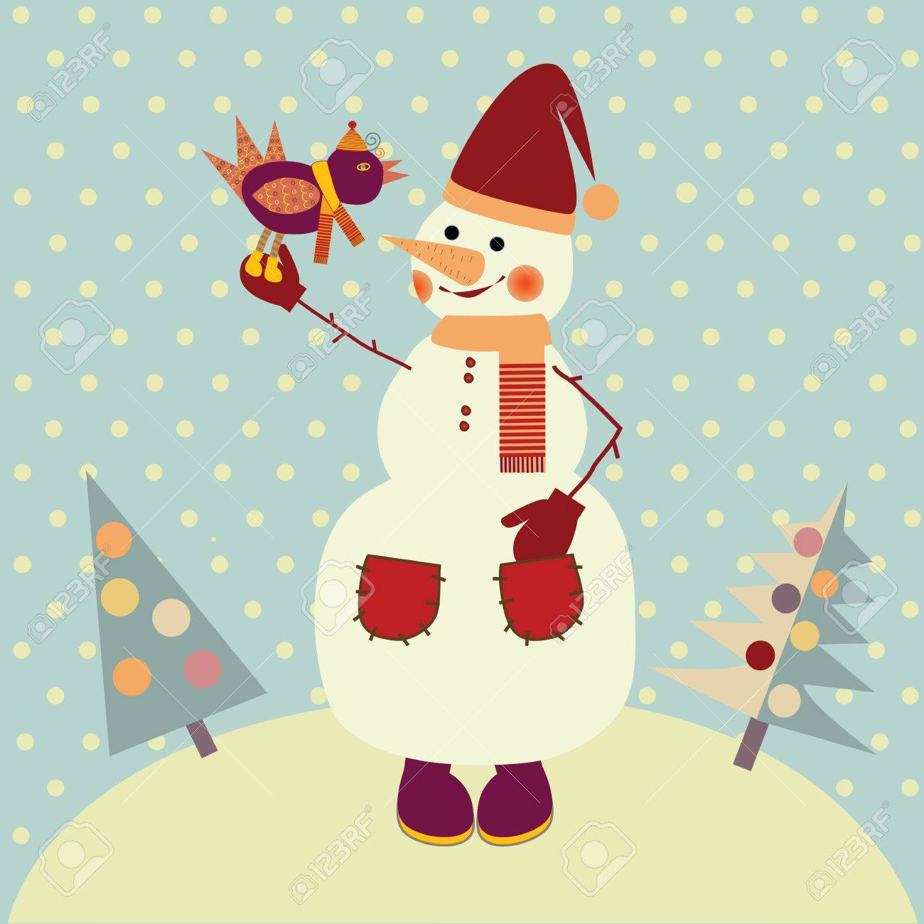snowman with bird Stock Vector - 15684412
