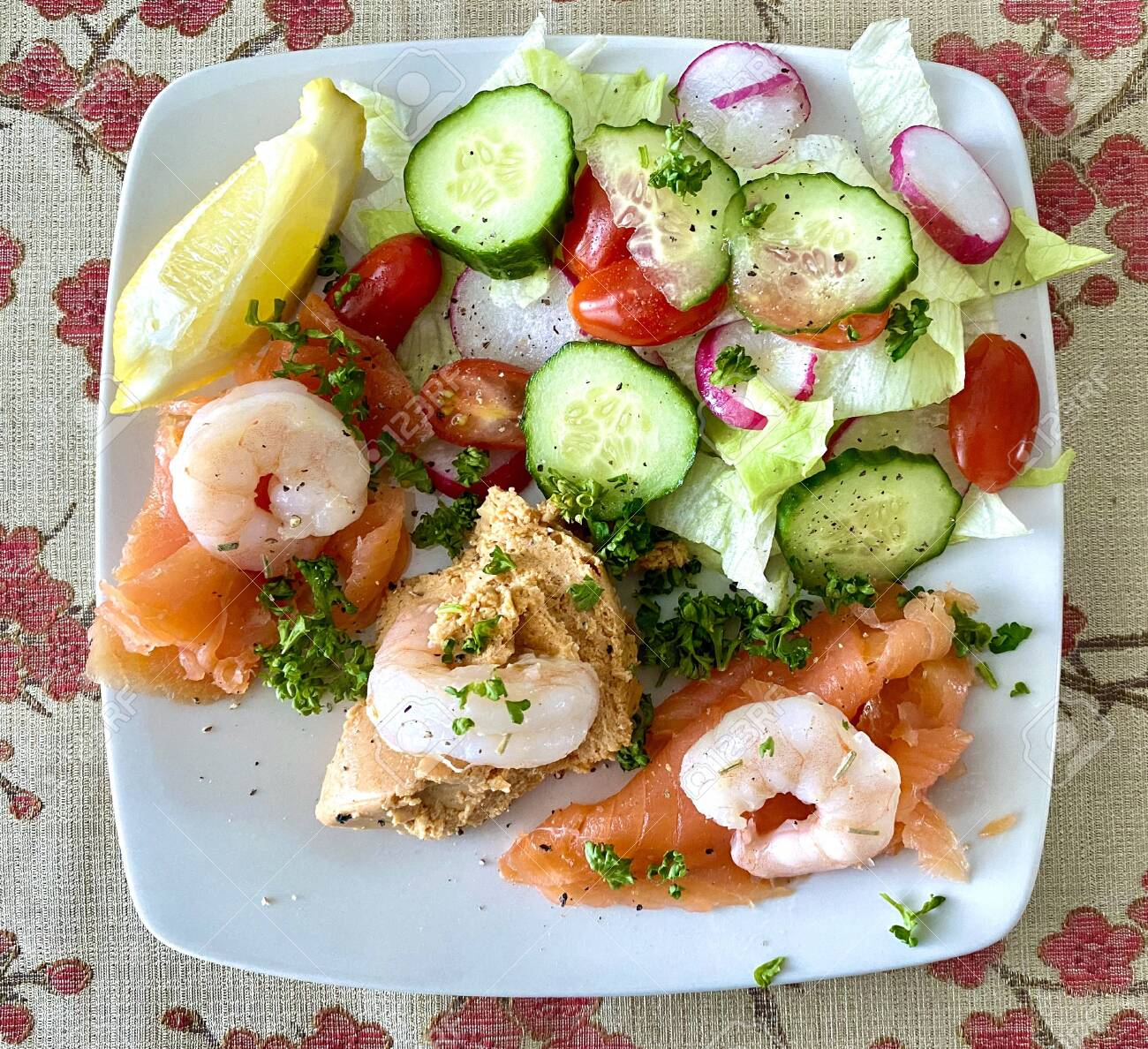 Delicious Seafood Salad Platter With Fresh Crab Smoked Salmon Stock Photo Picture And Royalty Free Image Image 151219623