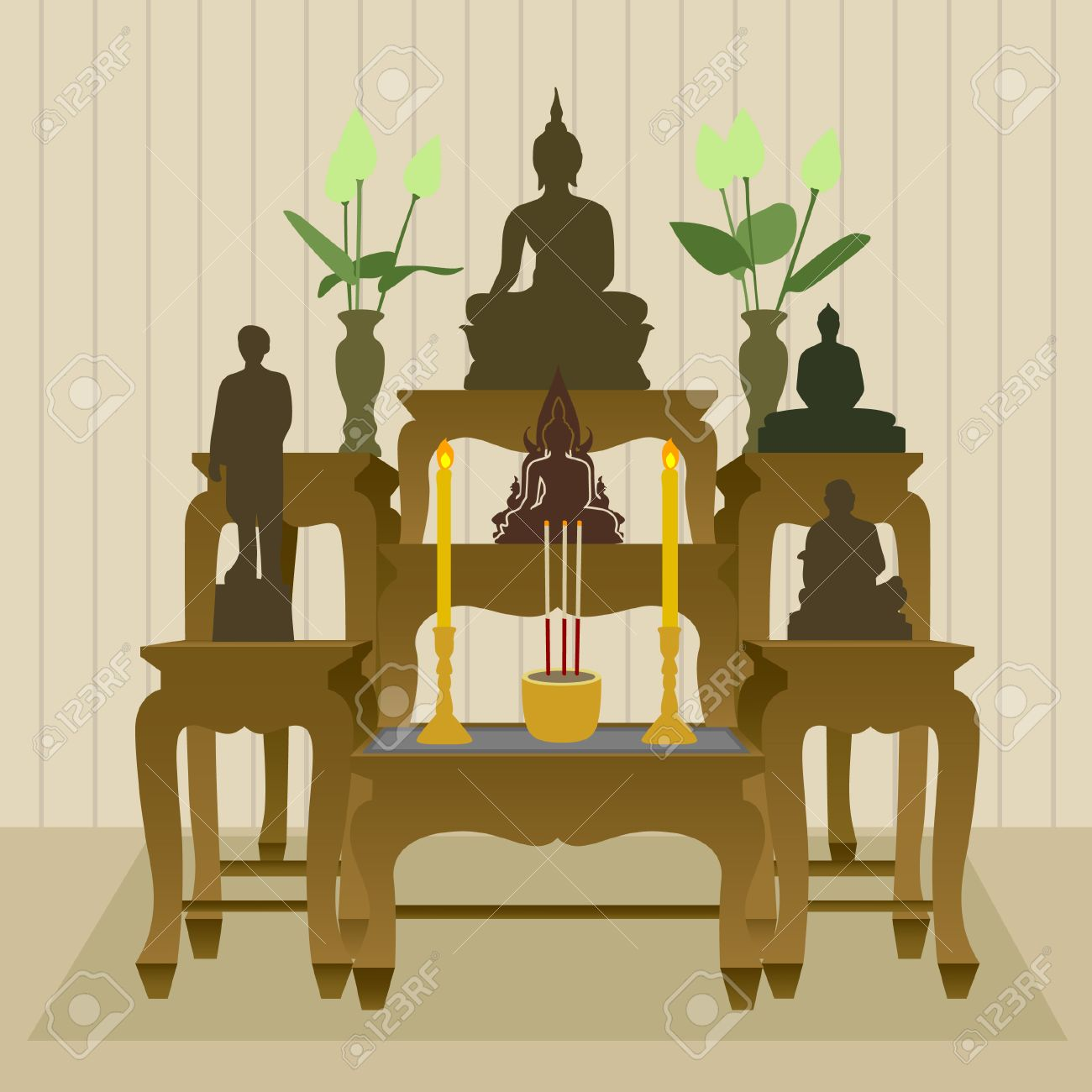 Thai Buddhist Altar Table Set Royalty Free Cliparts, Vectors, And ...
