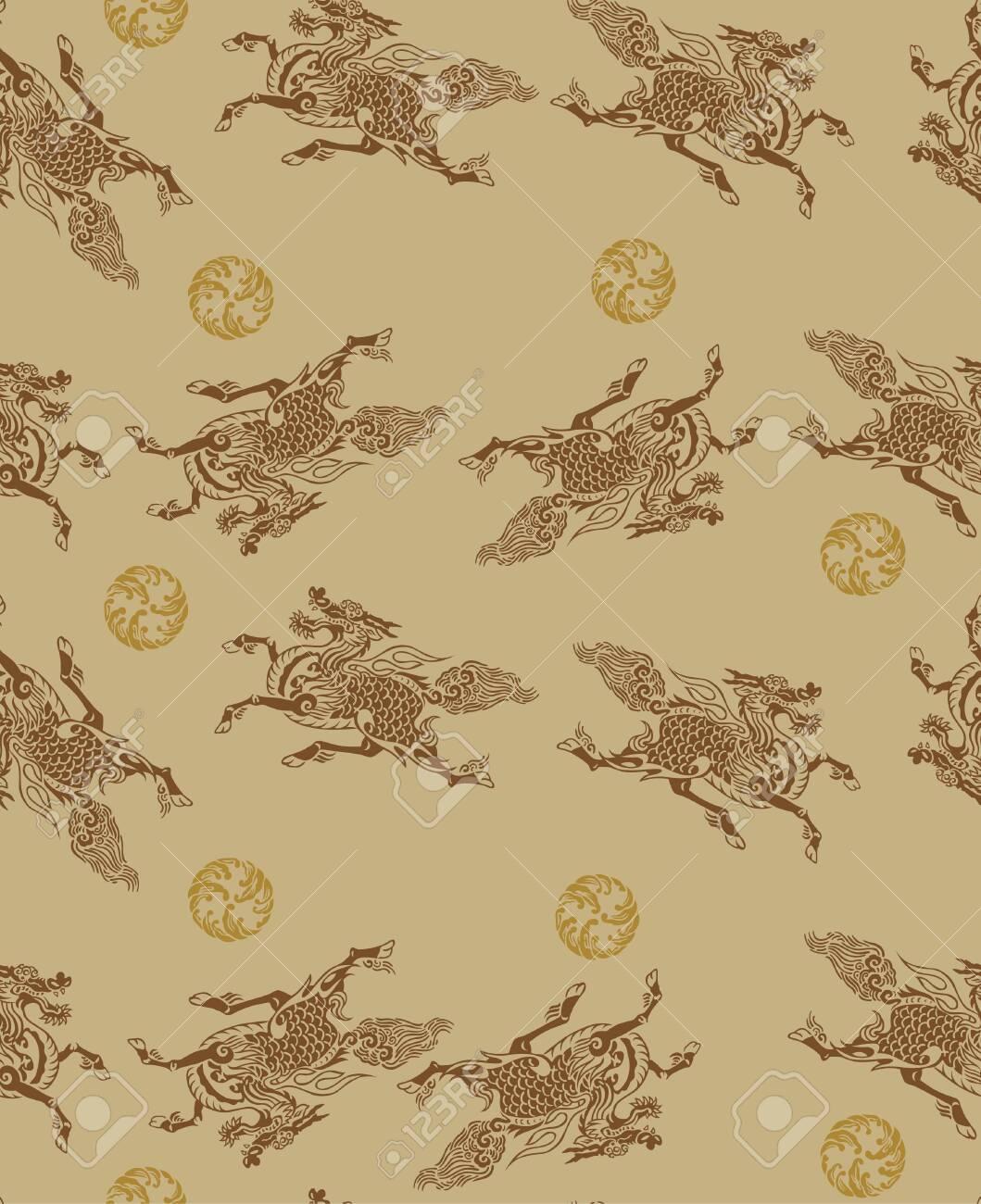 Japanese Kirin Mythical Dragon Horse Seamless Pattern - 132286164