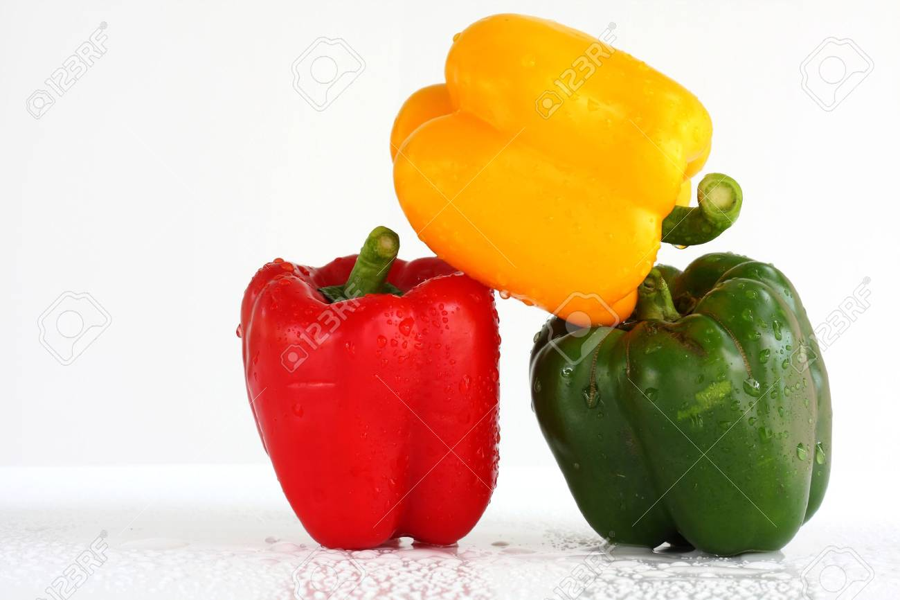 three fresh sweet pepper Stock Photo - 13953797
