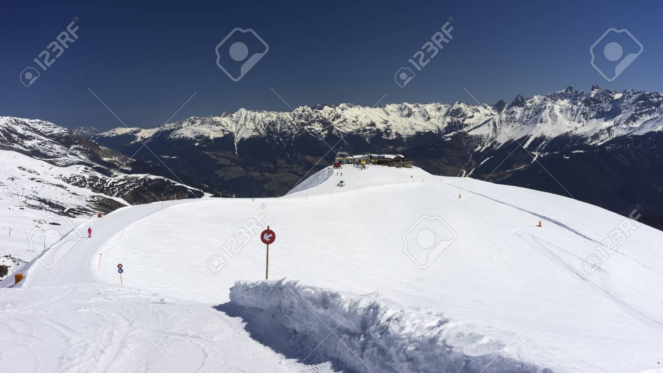 alpine ski resort serfaus fiss ladis in austria. tyrol. stock photo