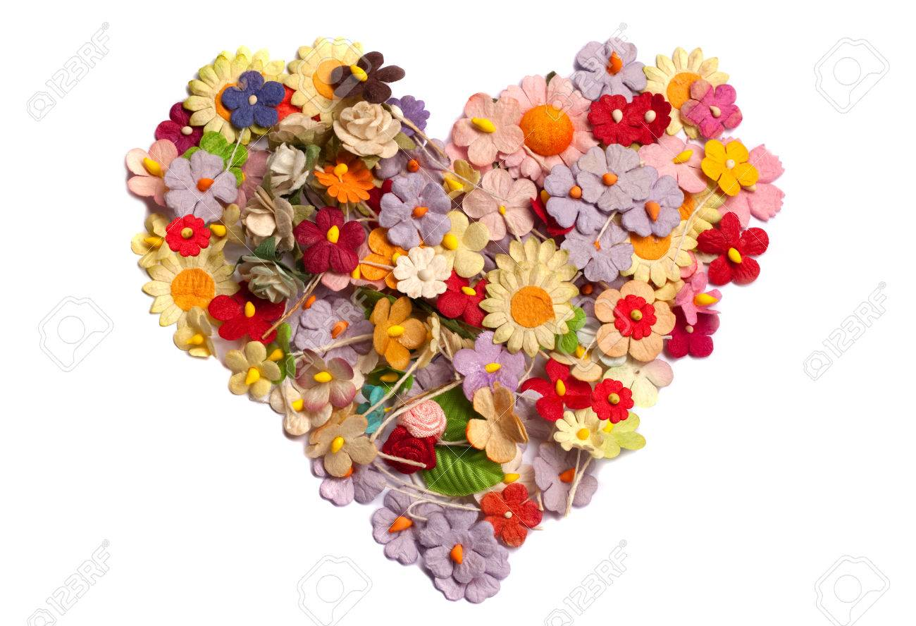 Affordable Handicraft Paper Has Colorful Of Handicraft Paper Flower As Heart Shape Stock Photo