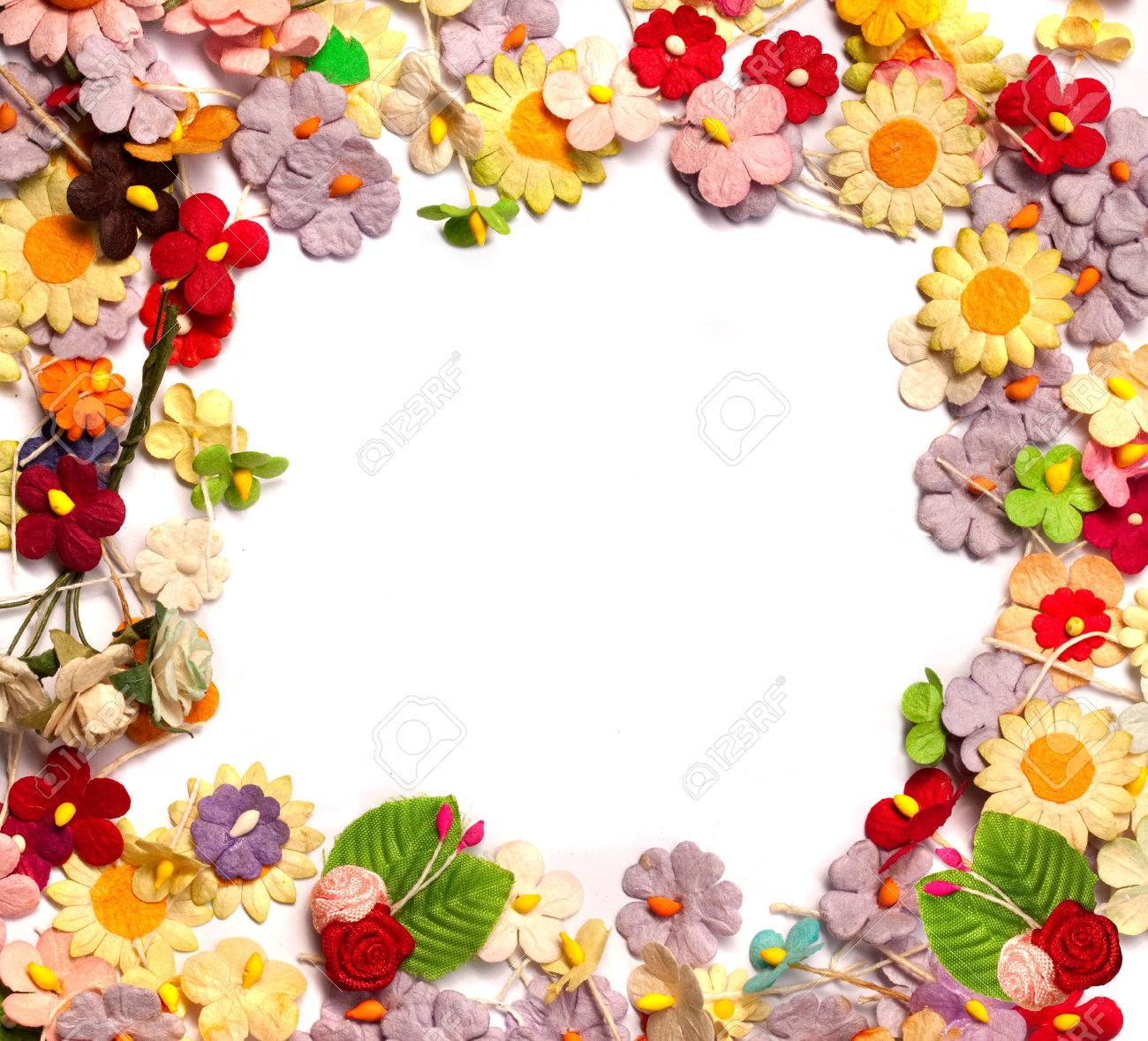 Extraordinary Handicraft Paper With Colorful Of Handicraft Paper Flower Frame Stock Photo, Picture And