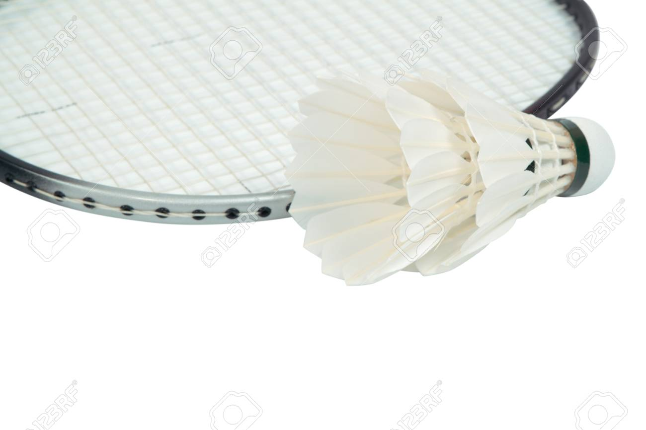 racket and shuttlecock  isolate on white background with path Stock Photo - 14512489