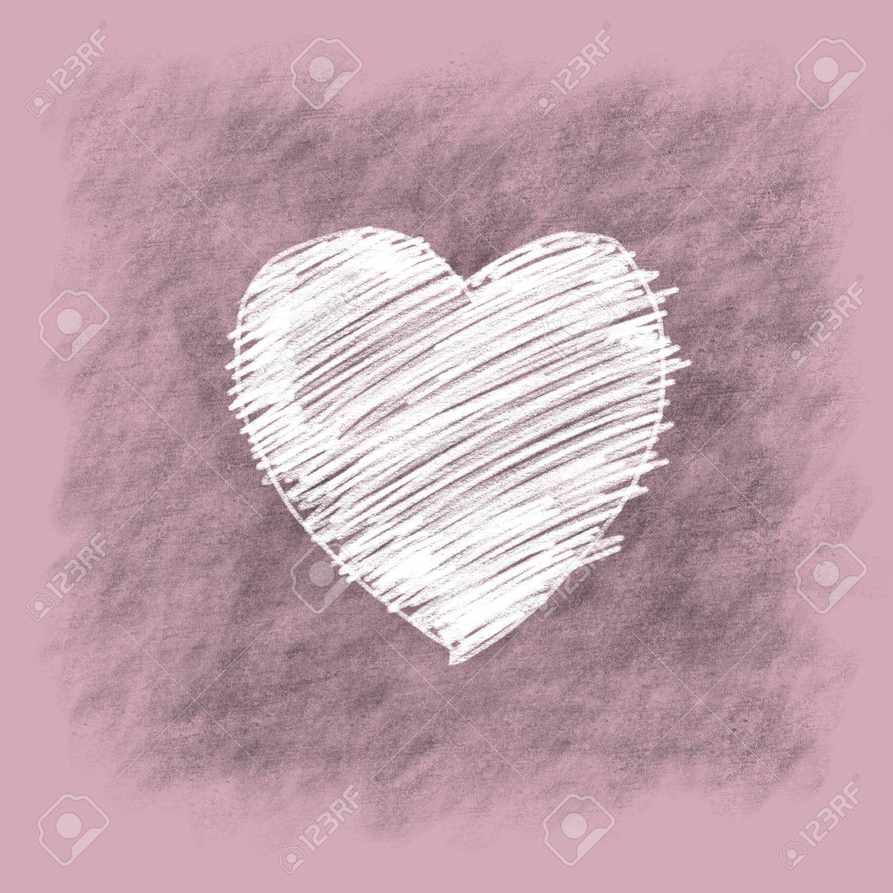 Blanc Doodle Coeur Sur Fond Gris Et Rose Dessin A La Main Au Crayon