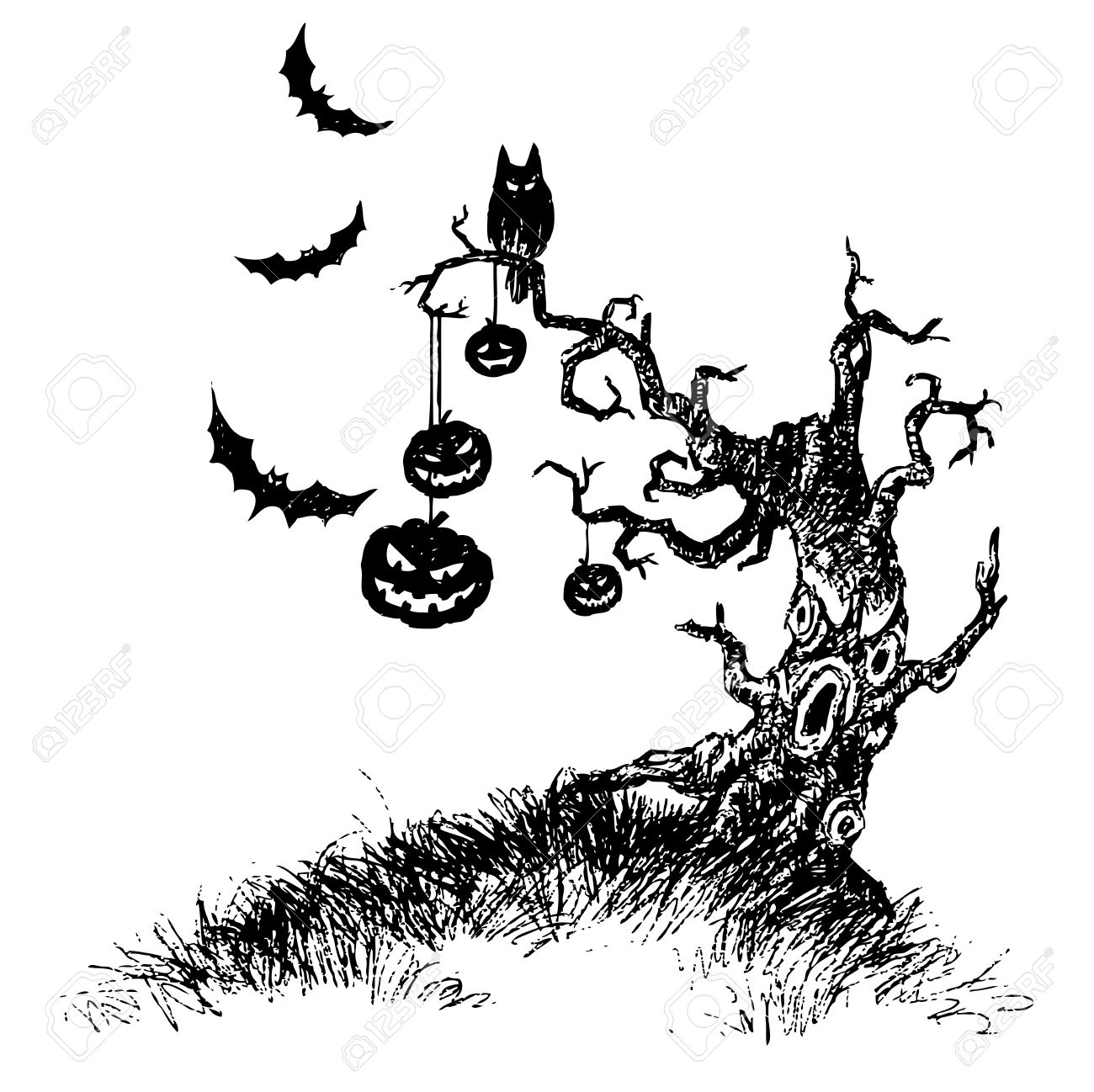 Hand Drawing Of Tree Of Devil Made By Pencil Use For Halloween ...
