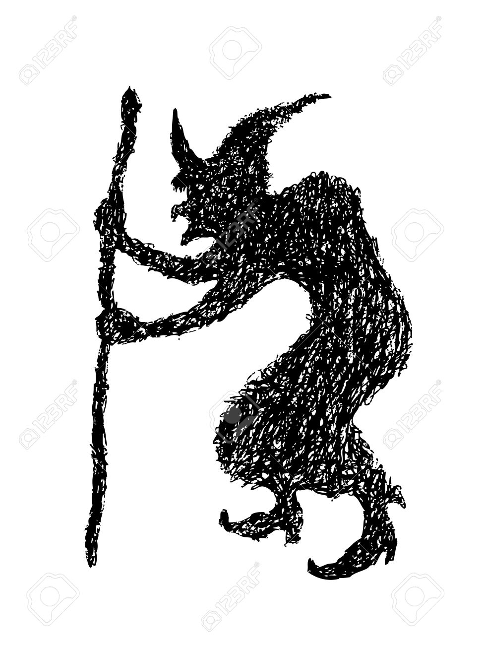 Hand Drawing Of Witch Silhouette Made By Pencil , Use For ...