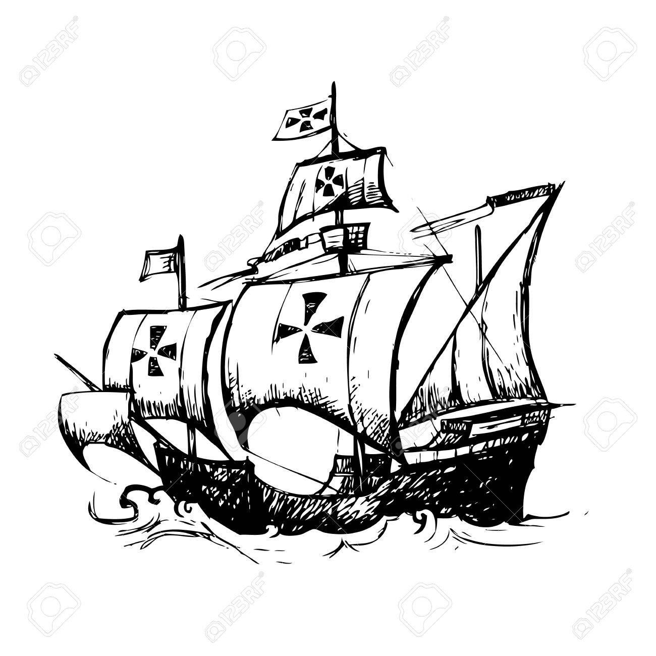 columbus ship hand drawn by pencil use for columbus day royalty rh 123rf com