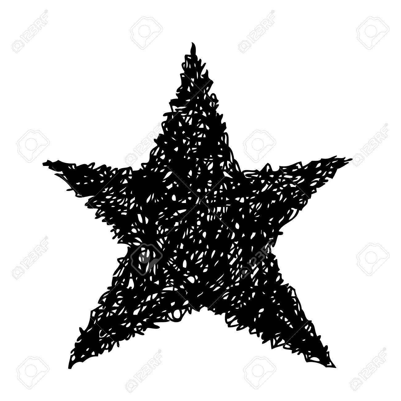 Black star hand draw isolated on white background