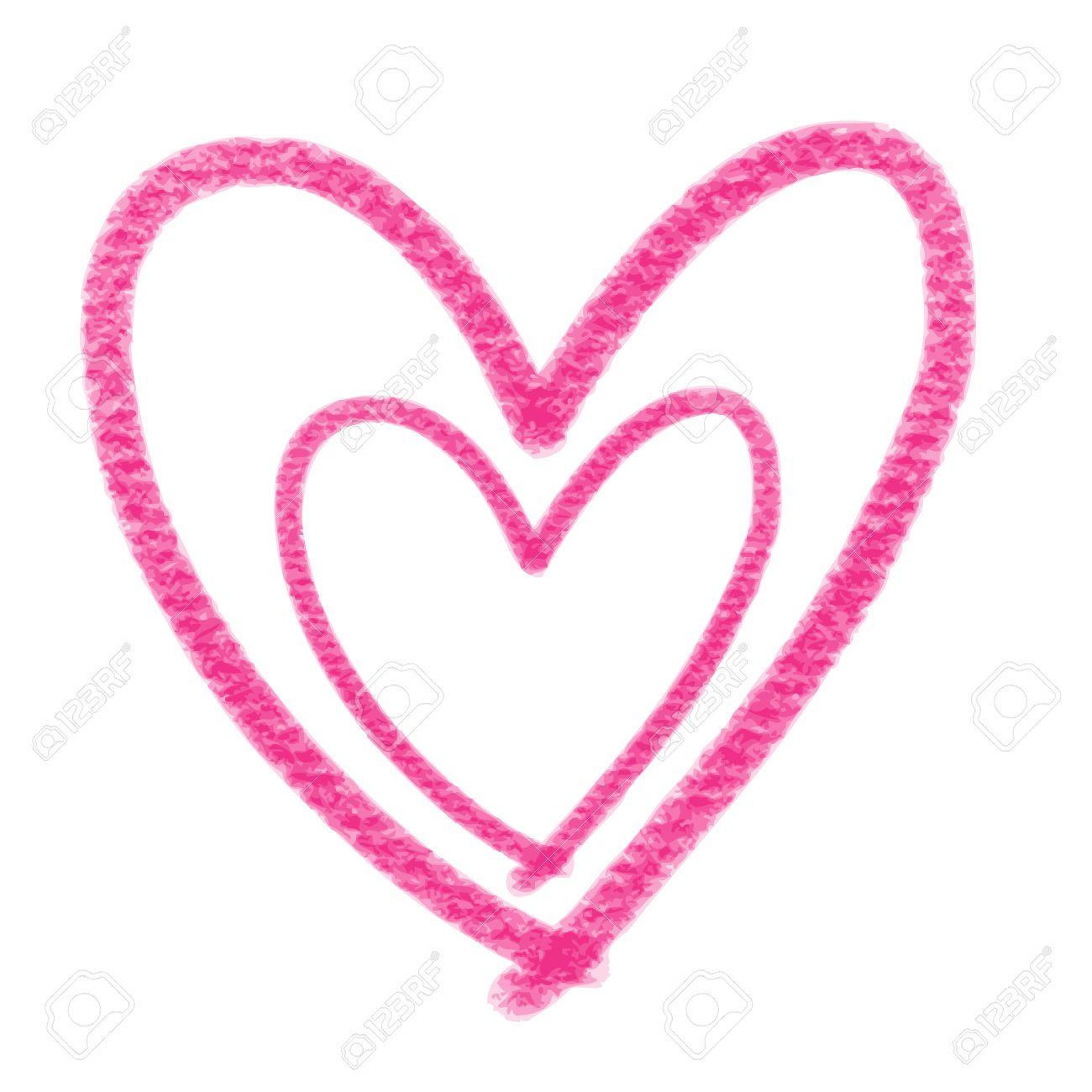 Main Doodle Coeur Rose Dessine En Forme Sur Fond Blanc Clip Art