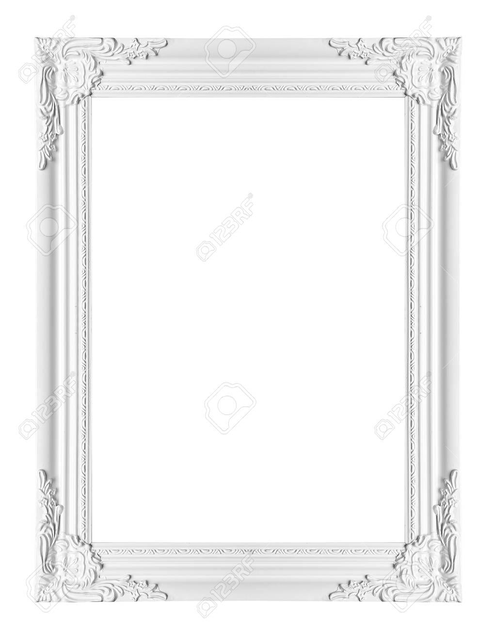 White Klassischen Vintage-Rahmen Auf Weißem Hintergrund Lizenzfreie ...