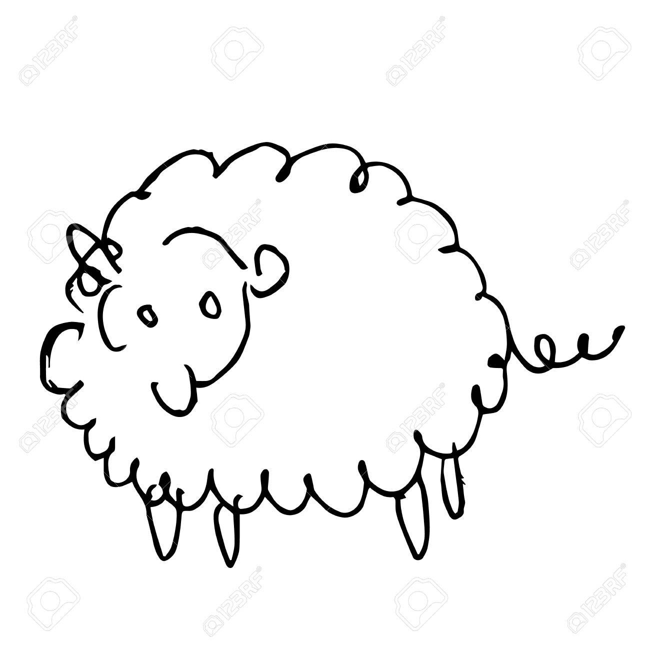 freehand sketch illustration of sheep doodle hand drawn in kid style stock vector 58044495
