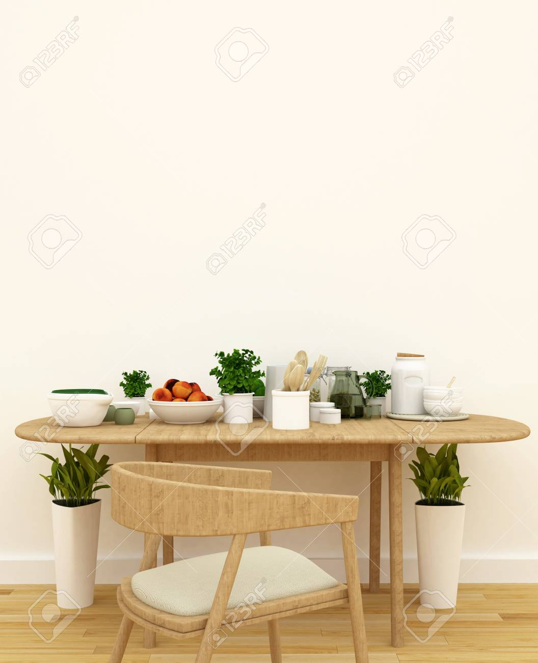 Kitchen Set In Pantry Area 3d Rendering Stock Photo Picture And