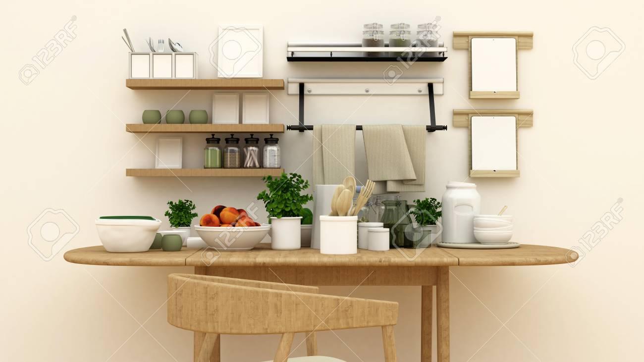 Cuisine aménagée en cellier pour ?uvres d\'art - rendu 3D