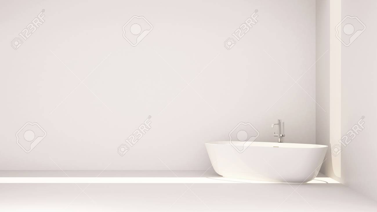 White Bathroom Minimal Design-3D Rendering Stock Photo, Picture And ...