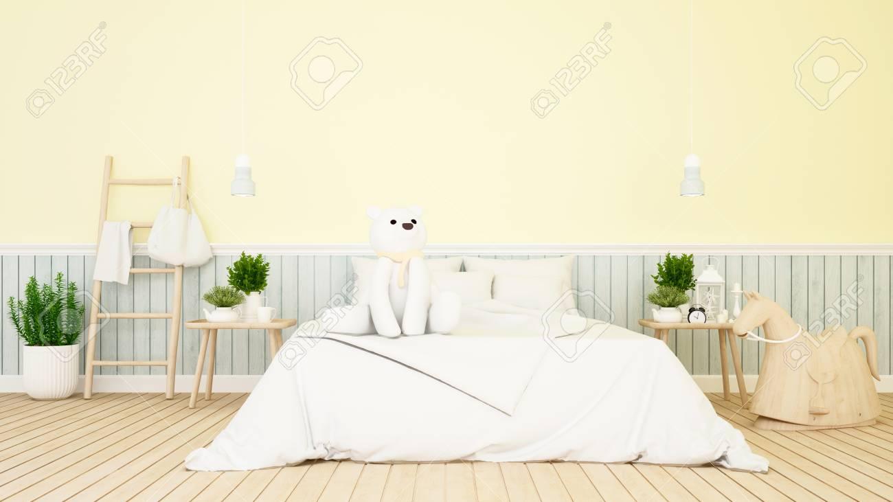 Weißer Bär Im Kinderzimmer Oder Schlafzimmer-3D Rendering ...
