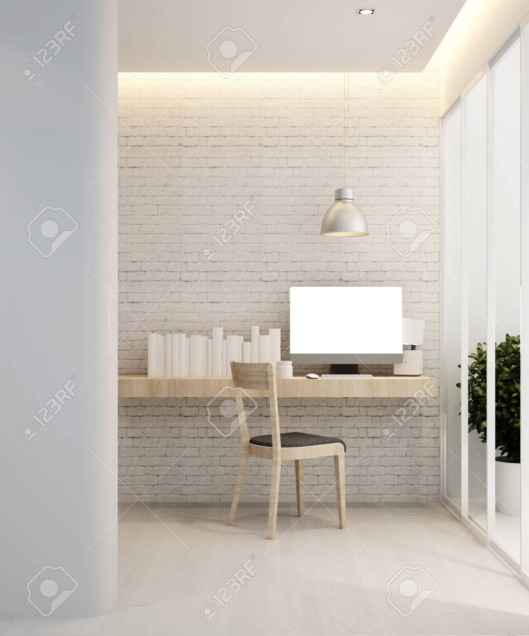 Study Room In Home Or Workplace In Apartment Interior Design