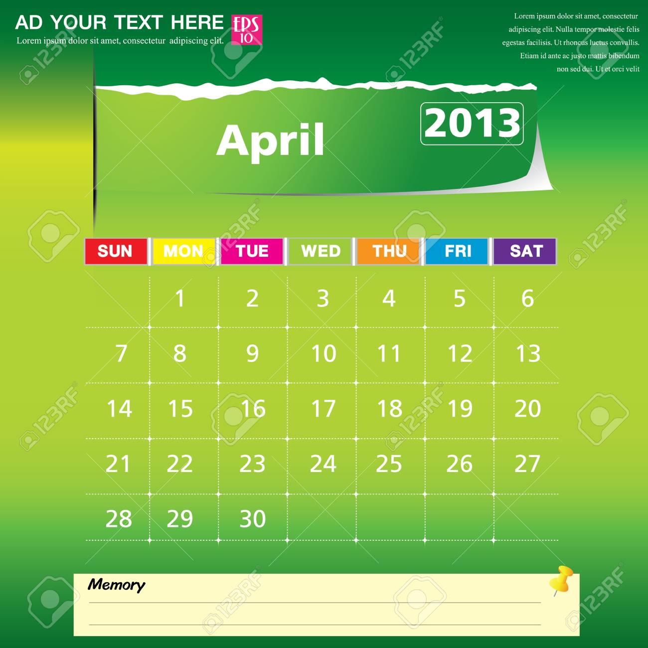 April 2013 calendar vector illustration Stock Vector - 16319380