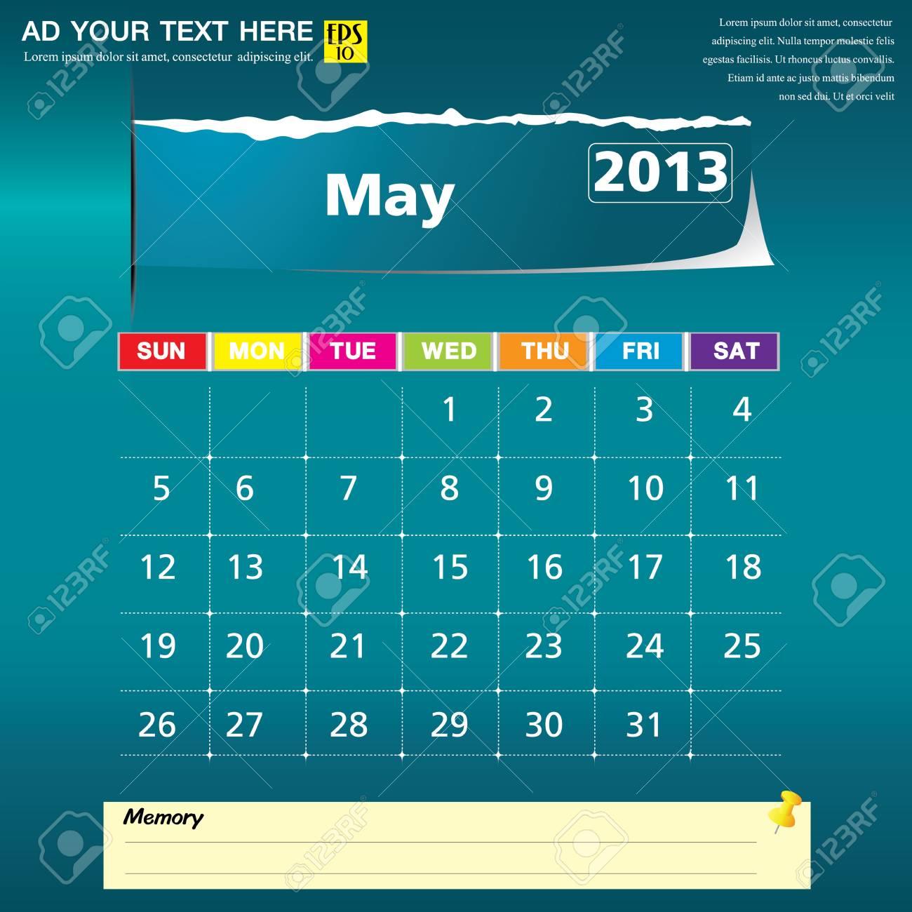 May 2013 calendar vector illustration Stock Vector - 16319386