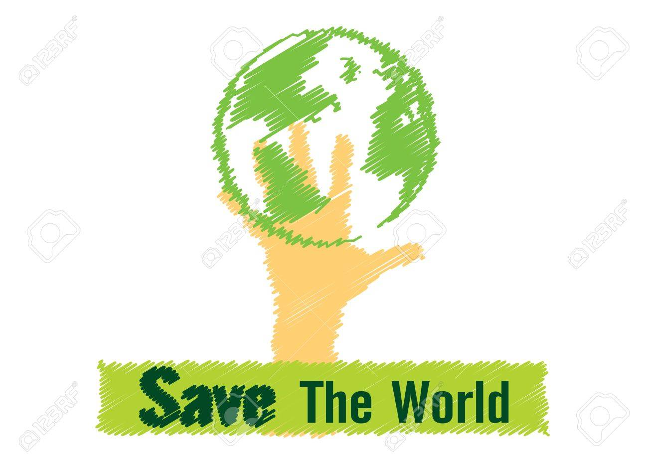 Illustration Vector Drawing Save The World Concept Royalty Free