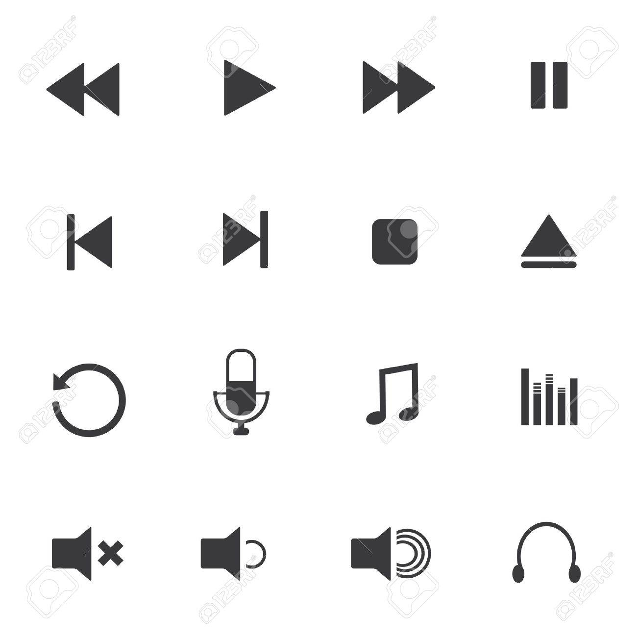 Media player icons Stock Vector - 20733793