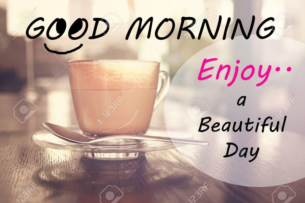 Inspiration Typographic Zitat Guten Morgen Einen Schönen Tag