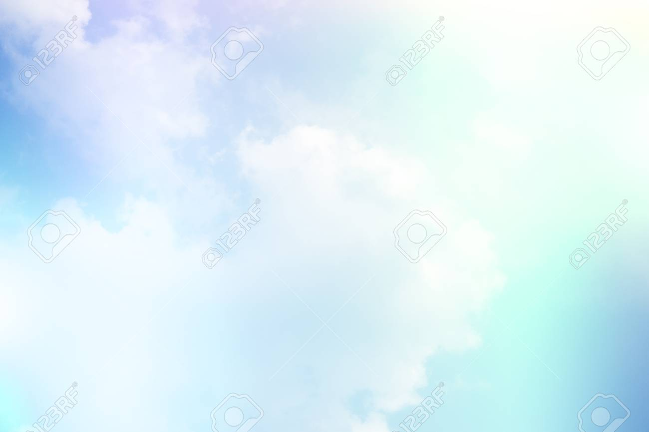 Colorful Sky And Clouds Pink And Blue Color Background Stock Photo
