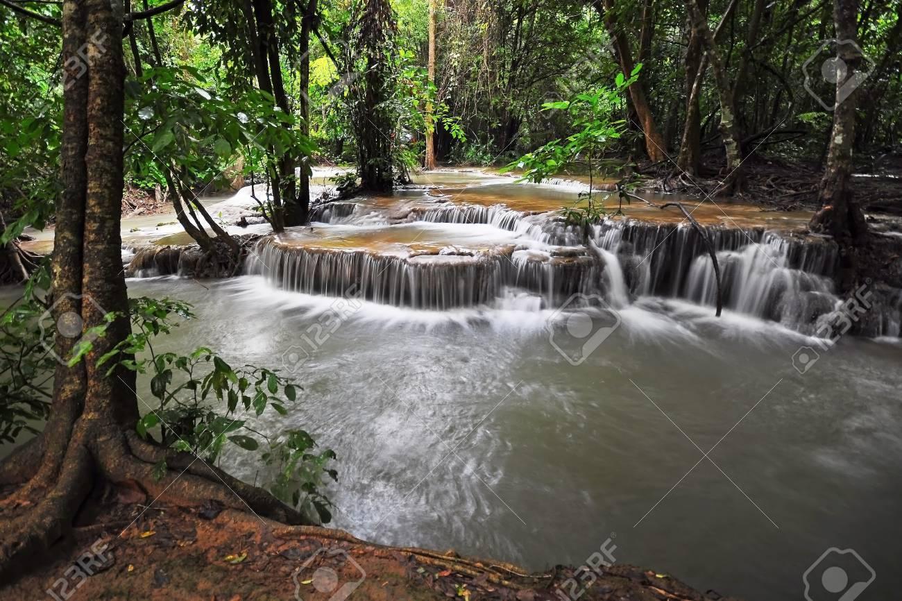 Waterfall in Thai National Park, Huay Mae Khamin Waterfall, Sai Yok National Park, Kanchanaburi, Thailand Stock Photo - 21214779