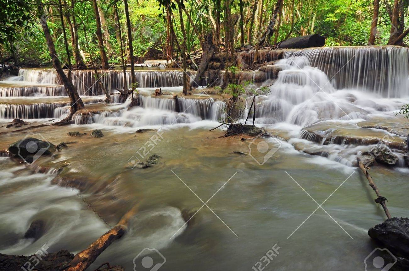 Waterfall in Thai National Park, Huay Mae Khamin Waterfall, Sai Yok National Park, Kanchanaburi, Thailand Stock Photo - 21214781