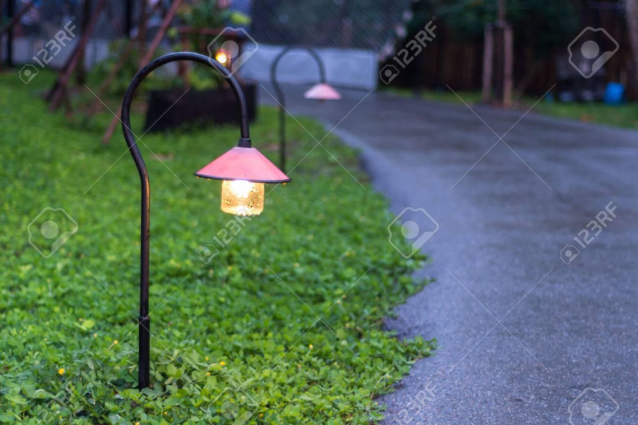 Belle éclairage allée de jardin avec des lampes la nuit