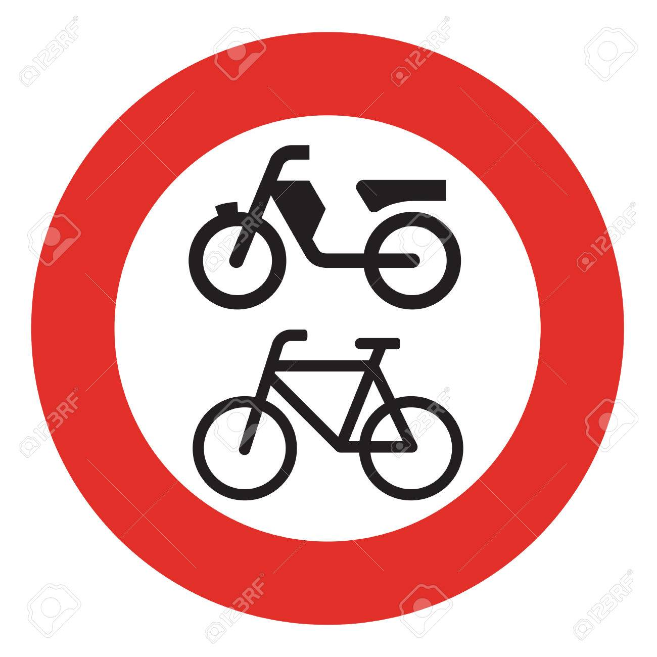 A Dutch Prohibition Sign No Mopeds Or Bicycles Stock Photo