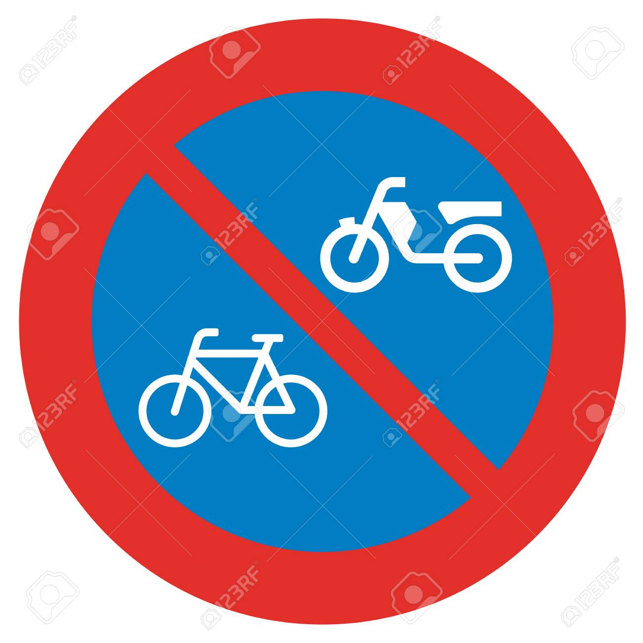 A Dutch Prohibition Sign No Parking Of Mopeds And Bicycles Stock